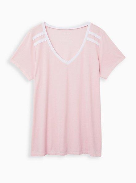 Pink Wash Varsity V-Neck Tee, ALMOND BLOSSOM, hi-res