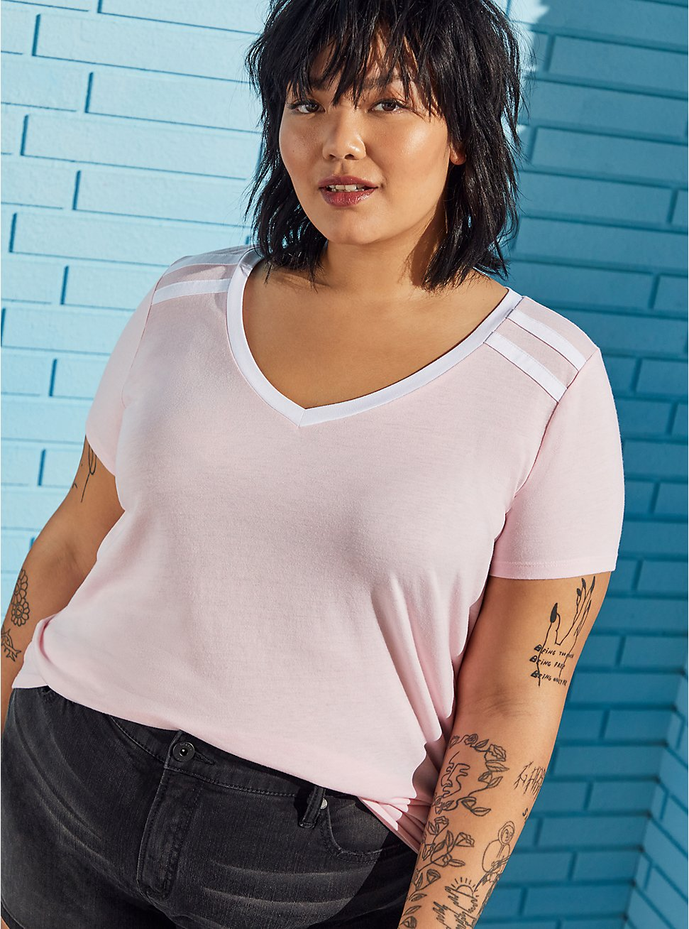 Plus Size Pink Wash Varsity V-Neck Tee, ALMOND BLOSSOM, hi-res