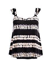 Black Tie-Dye Super Soft Sweetheart Lace-Up Tank, OTHER PRINTS, hi-res