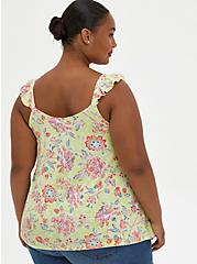 Yellow Floral Super Soft Sweetheart Lace-Up Tank, OTHER PRINTS, alternate