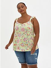 Yellow Floral Super Soft Sweetheart Lace-Up Tank, OTHER PRINTS, hi-res