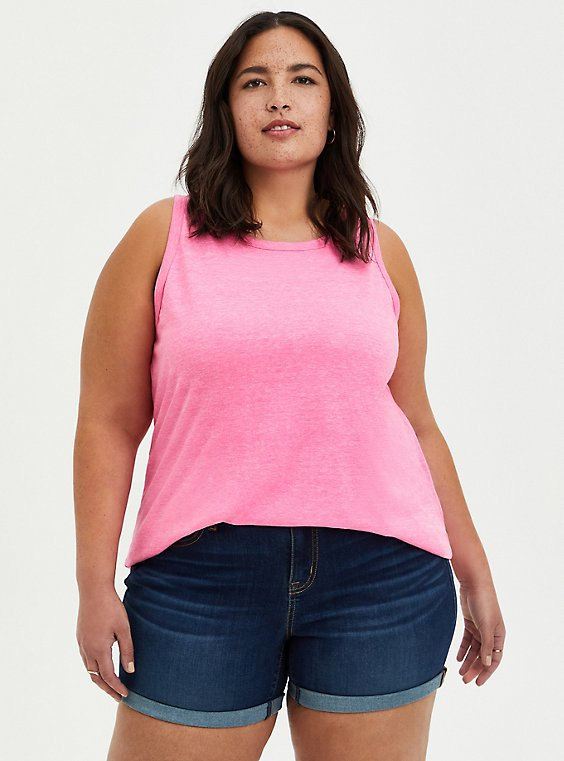 Coral High Neck Wide Rib Tank, PINK GLO, hi-res