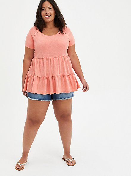 Tiered Babydoll Top - Mineral Wash Coral, CORAL, alternate