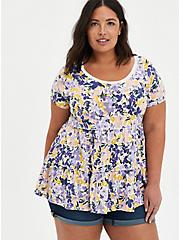 Tiered Babydoll Top - Summer Floral , OTHER PRINTS, hi-res