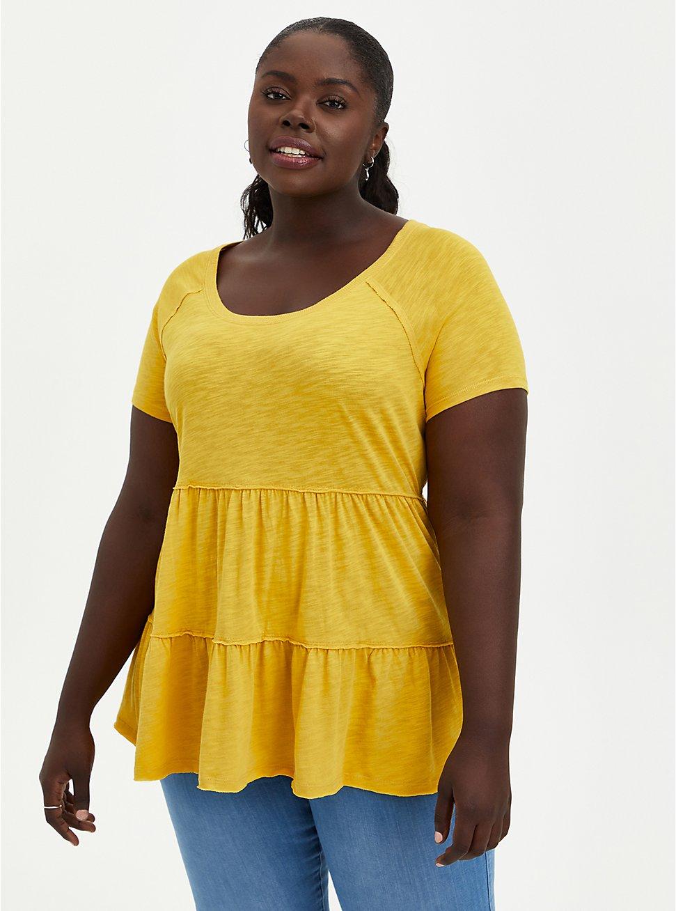 Tiered Babydoll Top - Mustard Yellow , MUSTARD HEATHER, hi-res