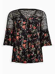Bell Sleeve Top - Super Soft Floral Black, OTHER PRINTS, hi-res