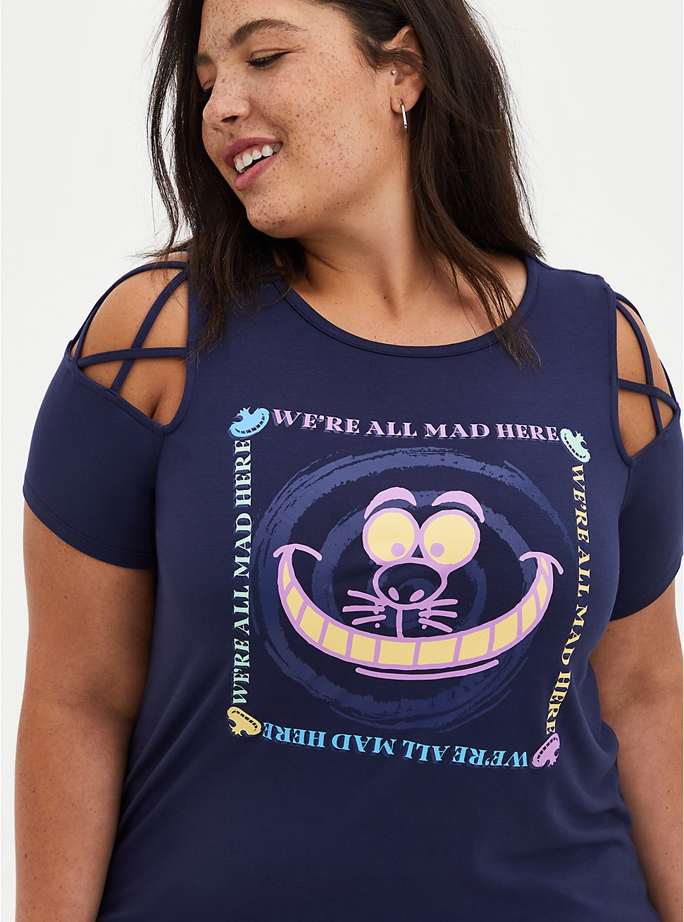 Disney Alice In Wonderland Cheshire Cat Lattice Sleeve Top, PEACOAT, hi-res
