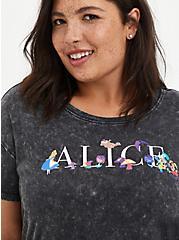 Plus Size Disney Alice In Wonderland Character Lace Hem Top, DEEP BLACK, alternate