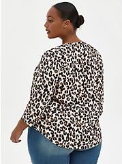 Harper - Leopard Georgette Zipper Front Pullover Blouse, LEOPARD, alternate