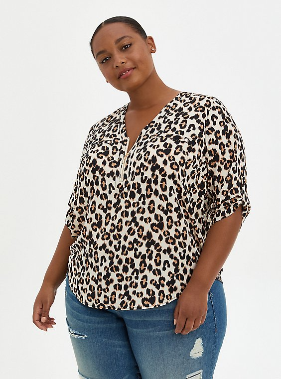 Harper - Leopard Georgette Zipper Front Pullover Blouse, , hi-res