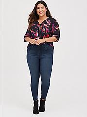 Harper - Black Floral Georgette Zipper Front Pullover Blouse, FLORALS-BLACK, alternate
