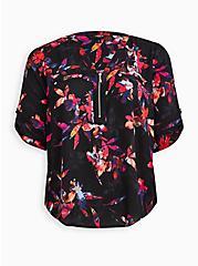 Harper - Black Floral Georgette Zipper Front Pullover Blouse, FLORALS-BLACK, hi-res