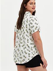 White Tropical Skulls Stretch Challis Shirt, TROPICAL SKULL, alternate