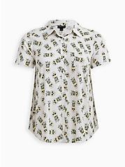 White Tropical Skulls Stretch Challis Shirt, TROPICAL SKULL, hi-res
