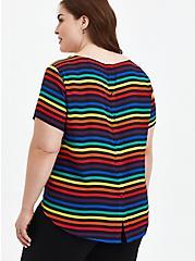 Plus Size Celebrate Love Abbey Blouse - Georgette Rainbow Multi Stripe, , alternate