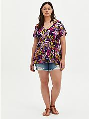 Plus Size Multi Leaves Rayon Tiered Blouse, FLORALS-BLACK, alternate