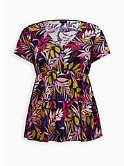Plus Size Multi Leaves Rayon Tiered Blouse, FLORALS-BLACK, hi-res