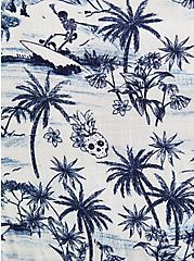 Tiered Blouse - Palm Print White, MULTI, alternate
