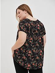 Split Front Blouse - Georgette Floral Black, , alternate