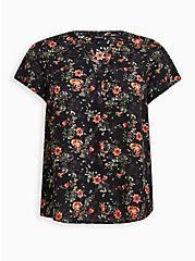 Split Front Blouse - Georgette Floral Black, , hi-res