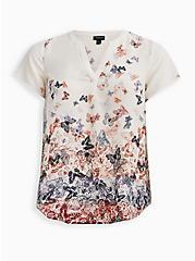 Plus Size Split Front Blouse - Georgette Butterfly White, , hi-res