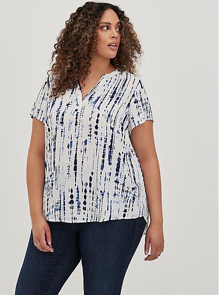 Plus Size Split Front Blouse - Georgette Tie-Dye Blue, , alternate