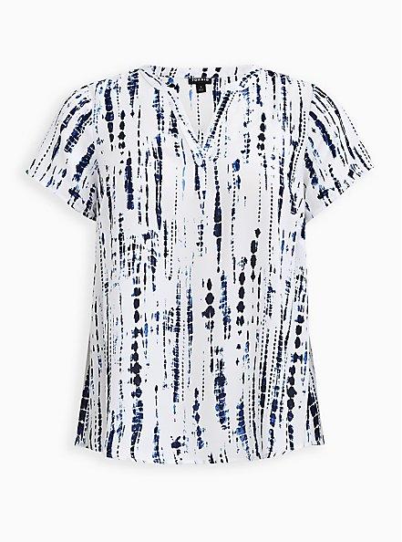 Plus Size Split Front Blouse - Georgette Tie-Dye Blue, , hi-res