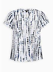 Split Front Blouse - Georgette Tie-Dye Blue, , hi-res