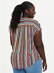 Multi Stripe Georgette Zip Front Dolman, STRIPE - WHITE, alternate