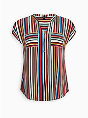 Multi Stripe Georgette Zip Front Dolman, STRIPE - WHITE, hi-res