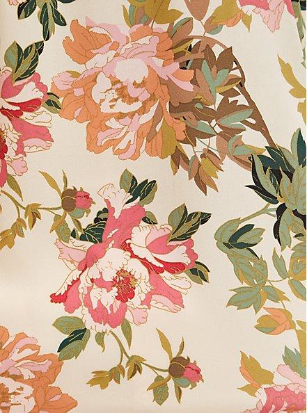 Sand Floral Georgette Zip Front Dolman, FLORALS-NUDE, alternate