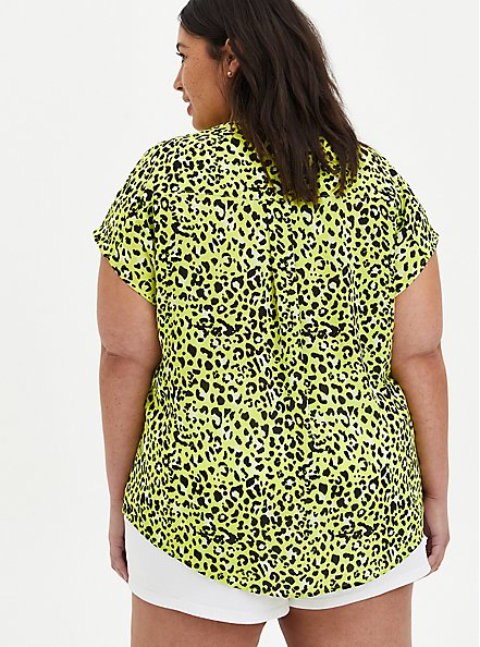Lime Leopard Georgette Zip Front Dolman, LEOPARD - YELLOW, alternate
