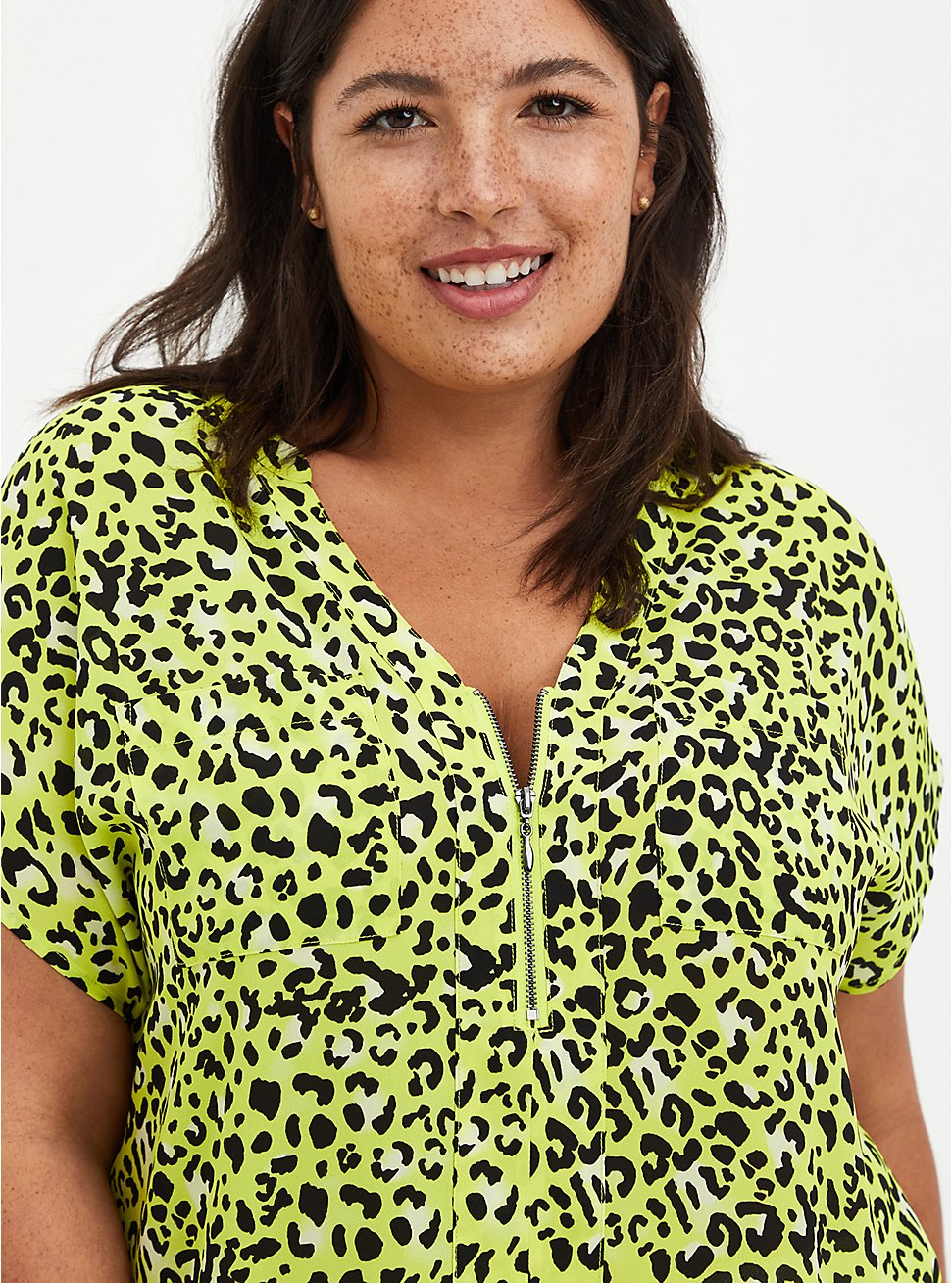 Lime Leopard Georgette Zip Front Dolman, LEOPARD - YELLOW, hi-res
