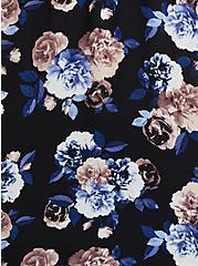 Black Floral Georgette Chainlink Cold Shoulder Blouse, FLORALS-BLACK, alternate