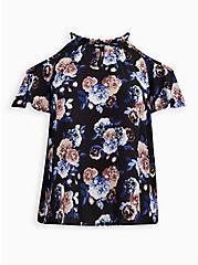 Black Floral Georgette Chainlink Cold Shoulder Blouse, FLORALS-BLACK, hi-res