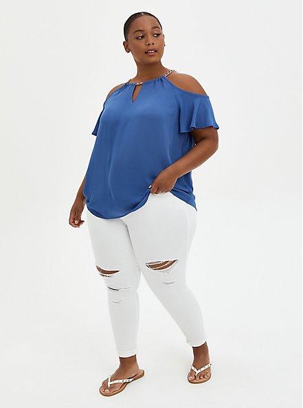Blue Georgette Chainlink Cold Shoulder Blouse, NAVY, alternate