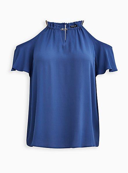 Blue Georgette Chainlink Cold Shoulder Blouse, NAVY, hi-res