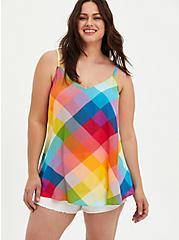Sophie - Rainbow Plaid Crinkle Gauze Cami, PLAID - MULTI, hi-res