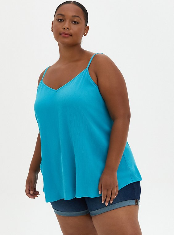 Sophie - Teal Crinkle Gauze Cami, BLUE, hi-res