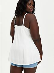 Fit & Flare Cami - Textured Stretch Rayon White, CLOUD DANCER, alternate