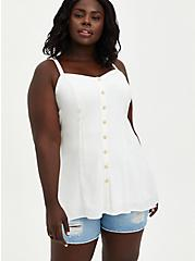 Fit & Flare Cami - Textured Stretch Rayon White, CLOUD DANCER, hi-res