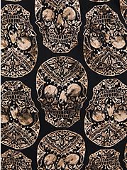 Black Skulls Stretch Challis Lace Up Tunic, MULTI, alternate