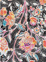 Black Floral Stretch Challis Lace Up Tunic, FLORALS-BLACK, alternate