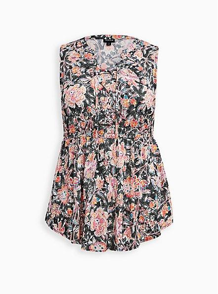 Plus Size Black Floral Stretch Challis Lace Up Tunic, FLORALS-BLACK, hi-res