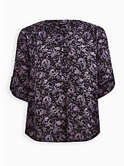 Harper - Black Floral Skull Gauze Pullover Blouse, MULTI, hi-res