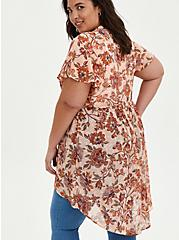 Lexie Babydoll Top - Chiffon Floral Pink, FLORAL - PINK, alternate