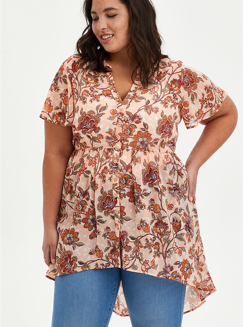Lexie Babydoll Top - Chiffon Floral Pink, FLORAL - PINK, hi-res