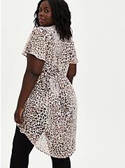 Lexie - White Leopard Chiffon Babydoll Top, LEOPARD - IVORY, alternate