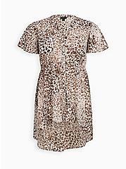 Lexie - White Leopard Chiffon Babydoll Top, LEOPARD - IVORY, hi-res