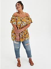 Plus Size Yellow Floral Gauze Smocked Cold Shoulder Blouse, FLORALS-YELLOW, alternate